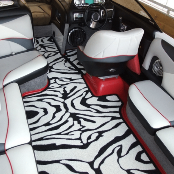 DECKadence Synthetic Boat Carpet with black and white zebra design