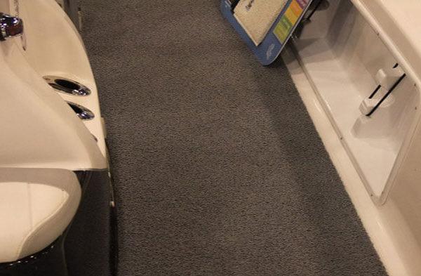 Grey boat carpet on a boat