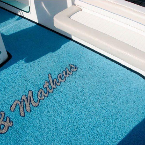 Blue boat carpet on a boat