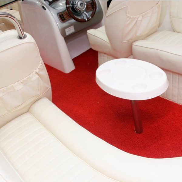 Red boat carpet on a boat