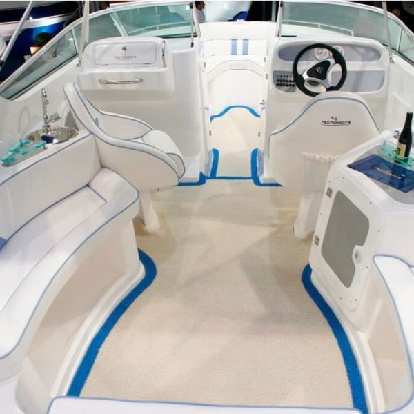white DECKadence Synthetic Boat Carpet on a boat deck