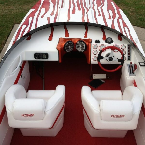 Red DECKadence Synthetic Boat Carpet on a boat deck